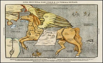 Unusual Map of Asia in The Form of Pegasus