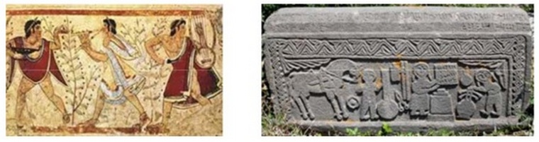 Etruscan fresco and a Medieval Armenian tombstone.