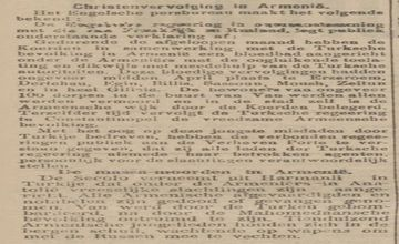 Dutch Newspaper Reporting on Armenian Massacres