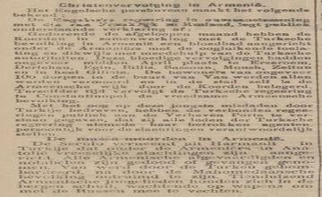 Dutch Newspaper Reporting on Armenian Massacres
