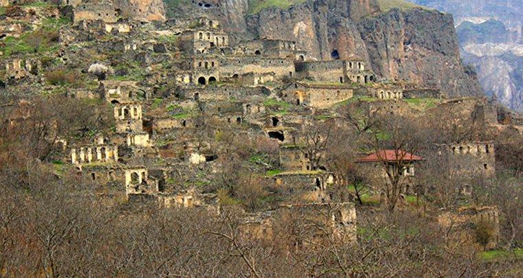 village in complete ruins