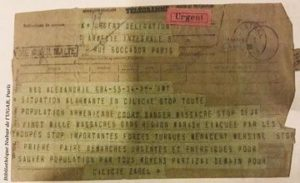 Zabel Yesayan's Telegram to Poghos Nubar