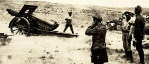 Armenian artillery shells enemy positions near Baku - September 1918