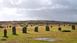 Stone circles Hurlers in Cornwall near the village of Minions